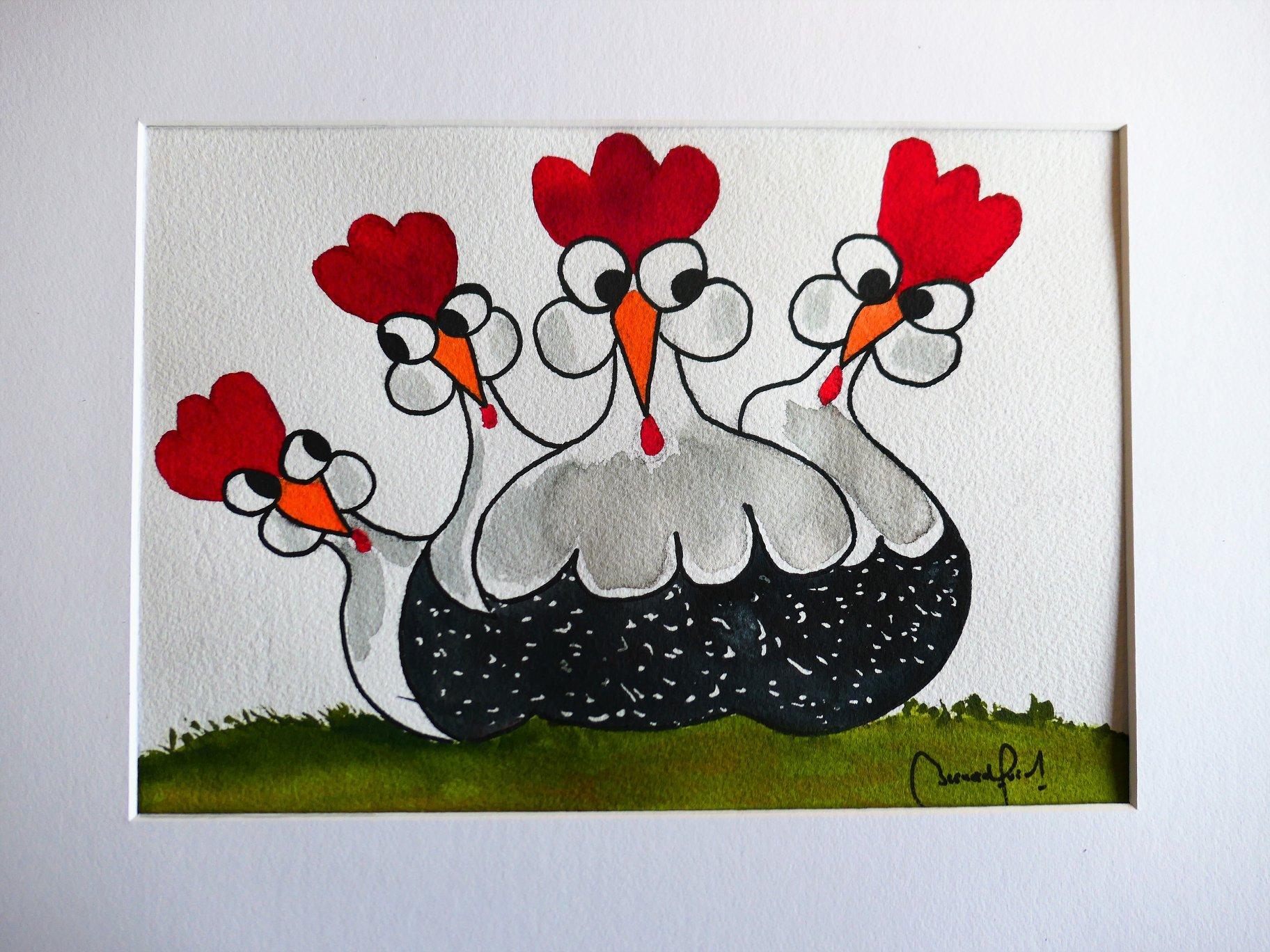 Poules décorative